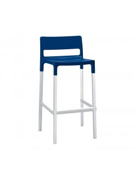 Design Barstuhl, blau, Sitzhöhe 75 cm, Outdoor