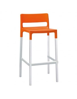 Design Barstuhl, orange, Sitzhöhe 75 cm, Outdoor