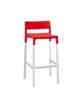 Design Barstuhl, rot, Sitzhöhe 75 cm, Outdoor