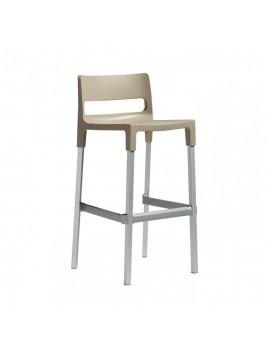 Design Barstuhl, taubengrau, Sitzhöhe 75 cm, Outdoor