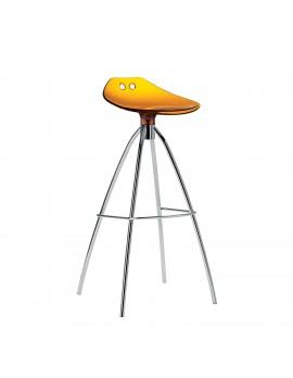 Barhocker orange transparent, Sitzhöhe 65 cm, Beine verchromt