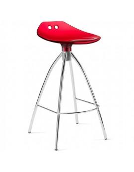 Barhocker rot transparent, Sitzhöhe 80 cm, Beine verchromt