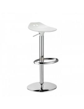 Barstuhl, weiß, Sitzhöhe variabel 53-77 cm, chrom Drehbar