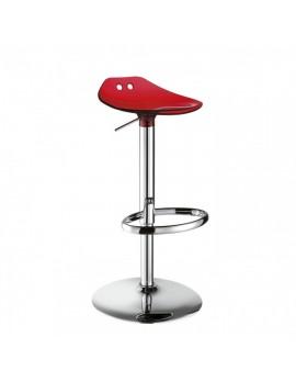 Barstuhl, rot transparent, Sitzhöhe variabel 53-77 cm, chrom Drehbar