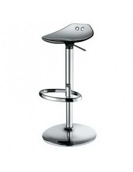 Barstuhl, grau transparent, Sitzhöhe variabel 53-77 cm, chrom Drehbar