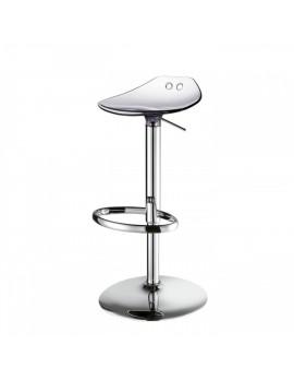 Barstuhl, transparent, Sitzhöhe variabel 53-77 cm, chrom Drehbar