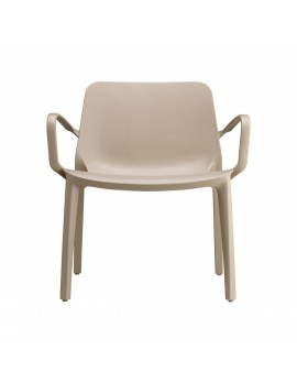 Lounge Stuhl taupe, Glasfaser mit Armlehne, Outdoor