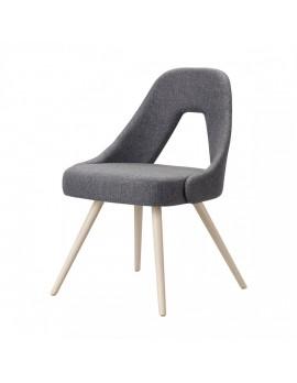 Design Stuhl in grau, aus Textil, Holz, Sitzhöhe 47 cm