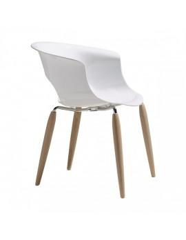 Stuhl Natural aus Kunststoff, Beine aus Holz mit Armlehne, weiß