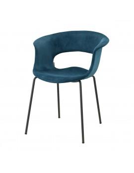 Moderner Stuhl in grünblau, aus Textil, Metall, Kunststoff, mit Armlehne