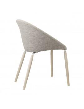 Design Stuhl in sand, aus Textil, massiv Holz, Natural, Kunststoff