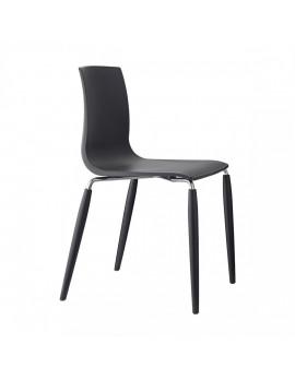 Stuhl Natural aus Kunststoff, Beine aus Holz, anthrazit