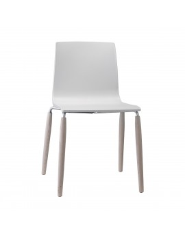 Stuhl Natural aus Kunststoff, Beine aus Holz, weiß