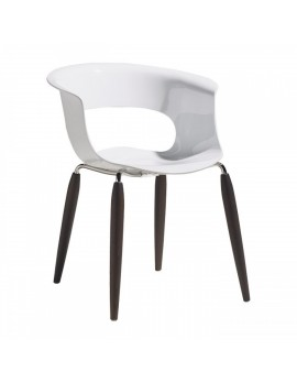 Stuhl Natural aus Kunststoff, Beine aus Holz mit Armlehne, weiß wenge