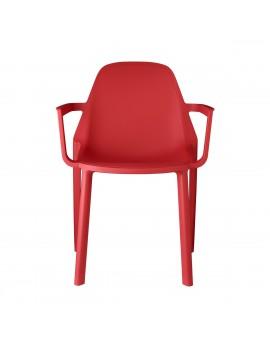 Stuhl rot, Glasfaser mit Armlehne, Outdoor