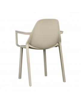 Stuhl taupe, Glasfaser mit Armlehne, Outdoor