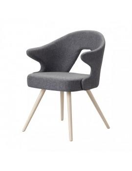 Design Stuhl in grau, aus Textil, Holz, mit Armlehne, Sitzhöhe 47 cm