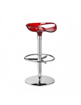 Barhocker, rot transparent, Sitzhöhe 75 cm, chrom