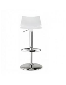 Barstuhl, weiß, variabel Sitzhöhe 52-77 cm, chrom