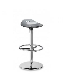 Barstuhl, grau transparent, Sitzhöhe 75 cm, chrom Drehbar
