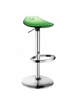 Barstuhl, grün transparent, Sitzhöhe variabel 53-77 cm, chrom Drehbar
