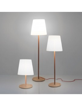 Stehleuchte weiß-Naturholz, Stehlampe in drei Größen