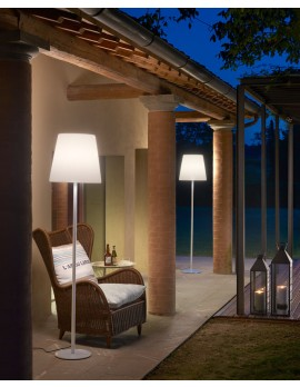Garten Stehlampe aus Kunststoff, Outdoor Stehlampe weiß, Gartenleuchte, Höhe 200 cm