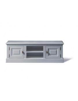 Lowboard grau, TV Schrank grau Massivholz, Fernseheschrank im Landhausstil, Breite 150 cm