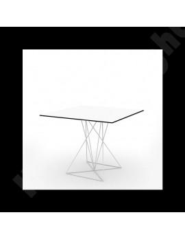 Design Tisch weiß Metall, Esstisch modern weiß, Maße 80x80 cm